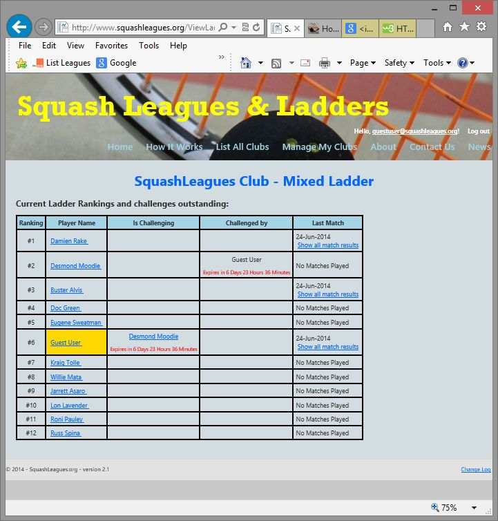Free Online Squash Club League and Ladder Management